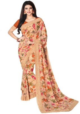 Shri Narayan Fashions Printed, Embroidered Bollywood Georgette Saree(Orange)