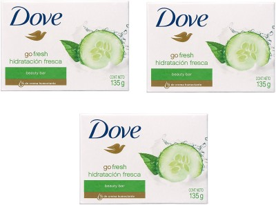 Dove Imported (Made In EU) Go Fresh Fresh Moisturizing Beauty Cream Bar(135 g, Pack of 3)