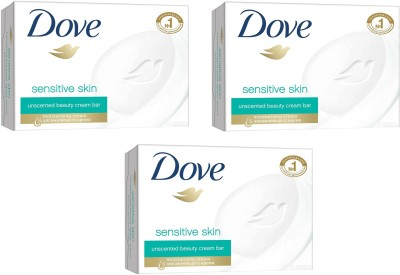 Dove Imported Sensitive Skin Unscented Beauty Cream Bar, 135 GM (Pack of 3)
