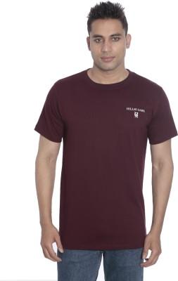 Hillisi Gare Solid Men's Round Neck Maroon T-Shirt
