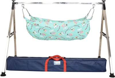 westturn Indian Style semi Folding Stainless Steel Ghodiyu (Baby Cradle) with Cotton Hammock (Silver)(Silver)  available at flipkart for Rs.1499