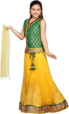 Aarika Girls Lehenga Choli Ethnic Wear Self Design Lehenga, Choli and Dupatta Set(Green, Pack of 1)