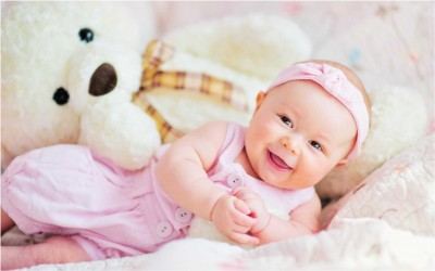 Cute Baby with Teddy Bear Poster Paper Print(12 inch X 18 inch, Rolled)  available at flipkart for Rs.175