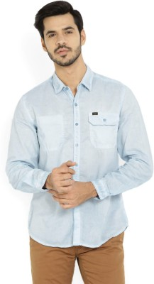 Lee Men Solid Casual Blue Shirt at flipkart