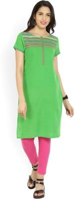 Aurelia Self Design Women's Straight Kurta(Green)  available at flipkart for Rs.484