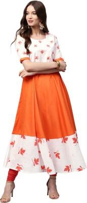 Libas Women Printed Anarkali Kurta(Orange, White)