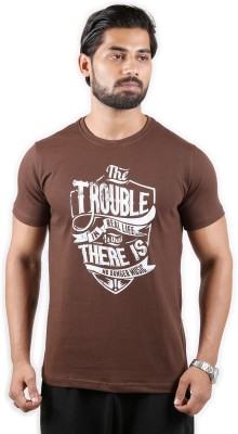 Outfit Style Forever Printed Men Round Neck Brown T-Shirt