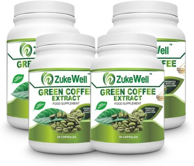 Zukewell Green Coffee Beans Extract (50% CGA) for Weight Management-30 Pure Veg Capsules Pack of 4(500 mg)