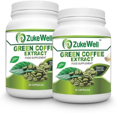Zukewell Green Coffee Beans Extract (50% CGA) for Weight Management- Pure Veg Capsules Pack of 2(30 No)
