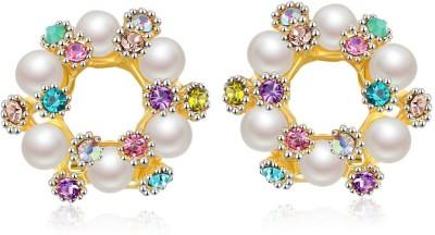 Jewels Galaxy Luxuria Crystal Copper Stud Earring Jewels Galaxy Earrings