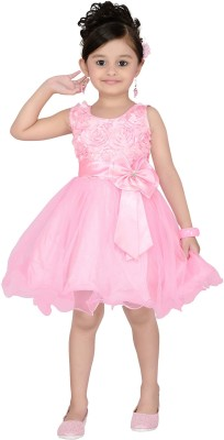 Aarika Girls Midi/Knee Length Party Dress(Pink, Sleeveless)