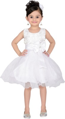 Aarika Girls Midi/Knee Length Party Dress(White, Sleeveless)