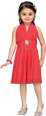 Aarika Girls Midi/Knee Length Party Dress(Pink, Sleeveless) at flipkart