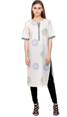 Indiankalakari.com Casual Printed Women Kurti(White)
