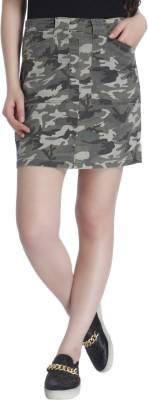 Only Printed Women Regular Green Skirt Only Women's Skirts