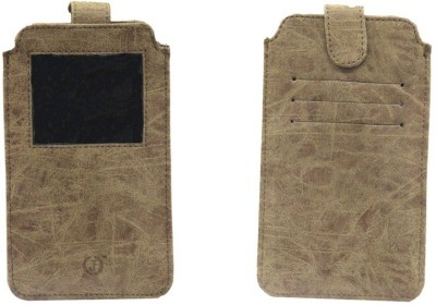 JoJo Pouch for XOLO Q800 X-Edition(Rough Brown, Artificial Leather)