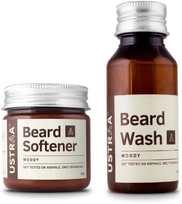 Ustraa By Happily Unmarried Beard Softener & Beard Wash (Woody)-Pack of 2(Set of 2)
