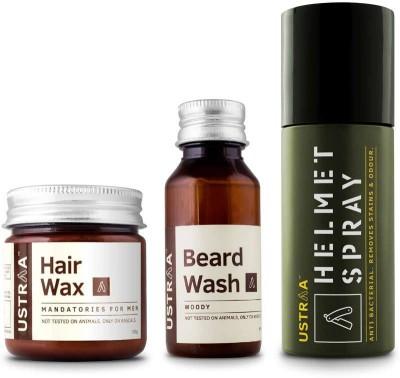 Ustraa By Happily Unmarried Beard Wash, Hair Wax and Helmet Spray-Pack of 3(Set of 3)