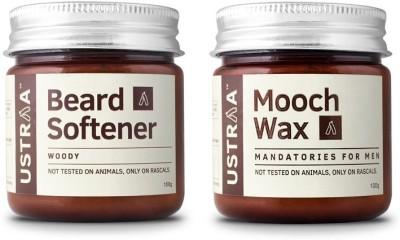 Ustraa By Happily Unmarried Mooch Wax & Beard Softener-Pack of 2(Set of 2)