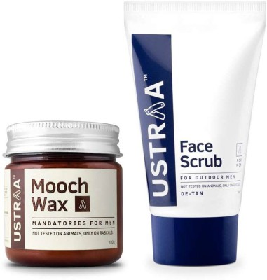 Ustraa By Happily Unmarried Face Scrub & Mooch Wax-Pack of 2(Set of 2)