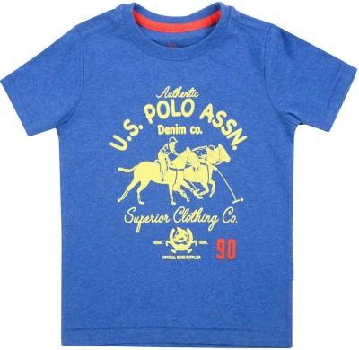 U.S. Polo Assn Boys Printed Cotton T Shirt(Blue, Pack of 1)