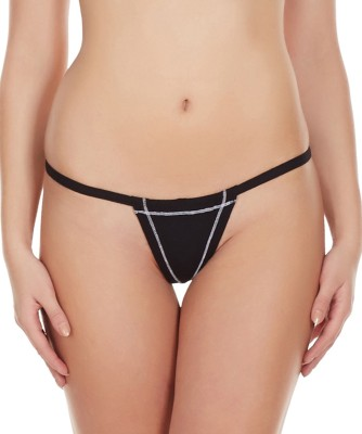 La Intimo Women's G-string Black Panty(Pack of 1)