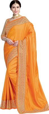 M.S.Retail Embroidered Bollywood Dupion Silk Saree(Orange)