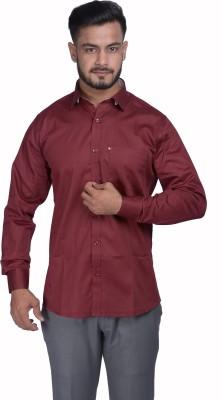 VINTAGE LOOK Men's Solid Formal Maroon Shirt