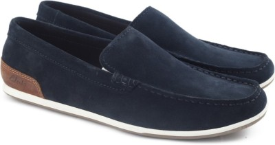 bright in luster really cheap best prices Clarks MEDLY SUN NAVY SUEDE loafers For Men(Blue)