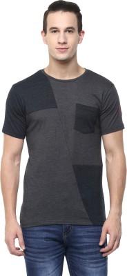 Yuvi Self Design Men Round Neck Grey T-Shirt