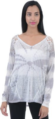 Aeropostale Printed Women V-neck White T-Shirt