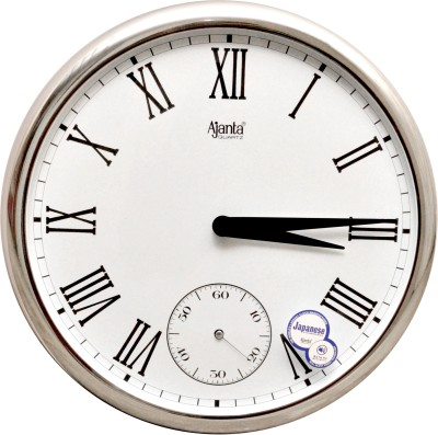 Ajanta Analog 28 cm X 28 cm Wall Clock(Silver, With Glass)