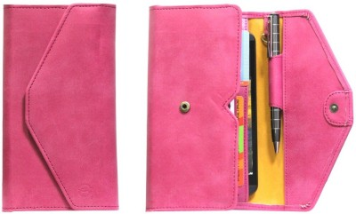 J Pouch for Micromax A88 Canvas Music(Pink, Artificial Leather)