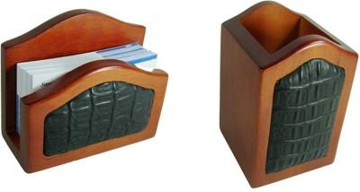 SR Crafts 2 Compartments Wooden, Fiber Pen & Visiting card holder(Brown, White)