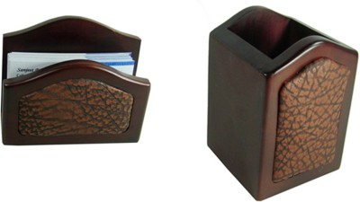 Essart 2 Compartments Wood Pen Tumbler or Visiting Card Stand(Brown)