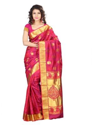 Varkala Silk Sarees Woven Kanjivaram Saree(Red)