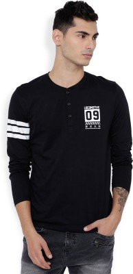 Locomotive Solid Men Henley Black T-Shirt