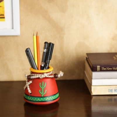 Unravel India Warli Painted 1 Compartments Terracotta Pen Stand(Red)  available at flipkart for Rs.499