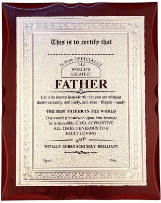 Atpata Funky World's Best FATHER Premium Certificate Award Trophy(L)