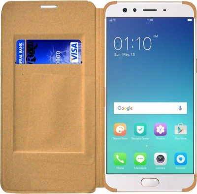 Roxel Wallet Case Cover for Oppo F3 Plus Gold(Gold, Artificial Leather, Plastic)