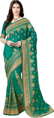 M.S.Retail Embroidered Bollywood Dupion Silk Saree(Green)