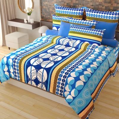 Home Candy Cotton Geometric Double Bedsheet(1 Double Bedsheet, 2 Pillow Covers, Blue) at flipkart