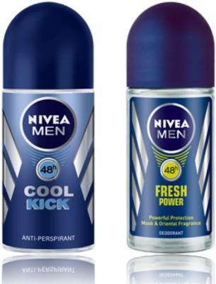 Nivea Cool Kick & Fresh Power Deodorant Roll-on  -  For Men(50 ml, Pack of 2)