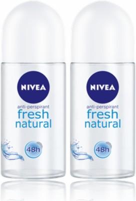 Nivea Fresh Natural Deodorant Roll-on  -  For Men & Women(50 ml, Pack of 2)
