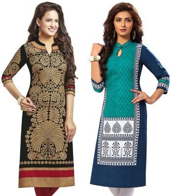 Jevi Prints Cotton Geometric Print Kurti Fabric(Un-stitched)