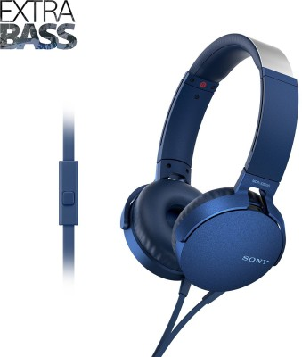 Sony MDR-XB550AP Wired Headset(Blue, Wired over the head)