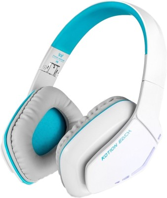 Kotion Each B3506 Wired, Bluetooth Headset with Mic(White and Blue, Over the Ear)