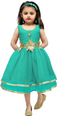 Aarika Girls Midi/Knee Length Party Dress(Green, Sleeveless) at flipkart