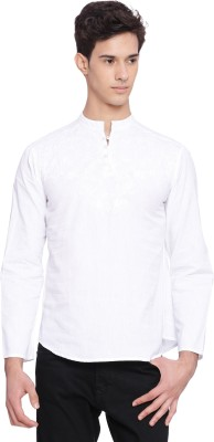 Svanik Men Solid Straight Kurta(White)