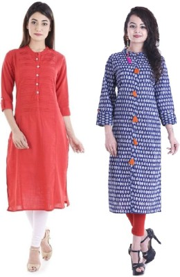 Stylum Casual Self Design Women Kurti(Pack of 2, Red, Blue)